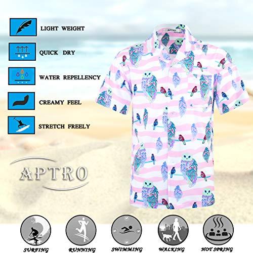 740da8a7ab6 APTRO Men s Hawaiian Shirt 4 Way Stretch Summer Holiday Short Sleeve Shirts