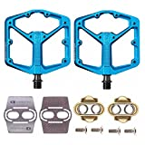 Crankbrothers Stamp 3 Bicycle Pedals (Blue, Large) with Premium Cleats and Bike Shoe Shields Set