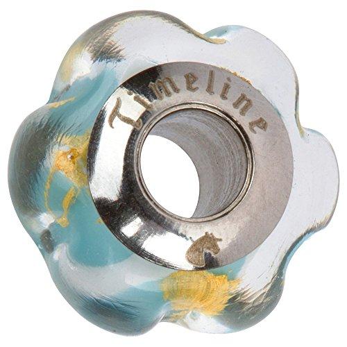 Blue Flower Charm for European Charm Bracelets Lampwork Glass Stainless Steel ()