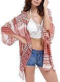 Spmor Women's Chiffon Boho Kimono Cardigan Beach Cover Shawl,one Size,Pink