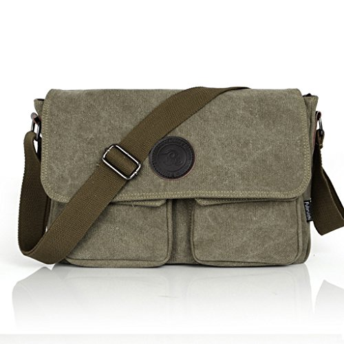 Daosen Vintage Canvas Large Unisex Messenger Sling Bag Casual Sport Shoulder Bag Messenger Bag Everyday Satchel Bag Army Green