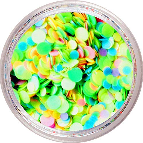 Solvent Resistant Neon Matte Nail Glitter Mix - Pink Blue Green Purple Orange Yellow - 1mm 2mm Round Nail Art Accessories (Neon Matte - Green Mix)