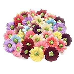 Fake flower heads in bulk wholesale for Crafts Artificial Sunflower Daisy Head Silk Handmake Flower Heads Wedding Decoration DIY Wreath Gift Box Scrapbooking Fake Flower 100pcs 4cm (Colorful) 13