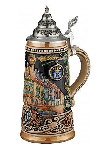 German Beer Stein Munich Hofbräuhaus München HB relief stein 0.5 liter tankard, beer mug King Werk KI ()