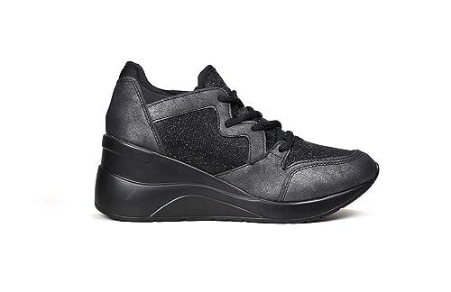 Bosanova Zapatillas Deportivas con Cuña de Mujer/Bambas con Cuña/Sneakers de Mujer Altas con Cuña, en 2 Materiales con Detalles Brillantes, Negro, ...