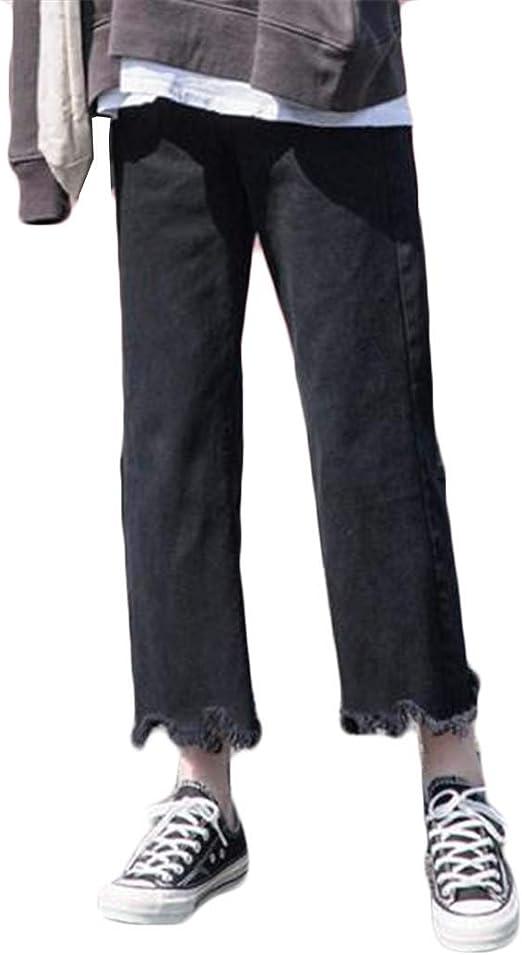 (フッカツ)レディース デニムパンツ ブーツカット 黒白 秋冬 ハイウエスト ジーンズ ジーパン ボトムス 美脚 ストレート 九分丈パンツ カジュアル おしゃれ ファッション 通学