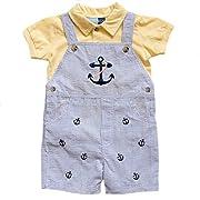Good Lad Newborn/Infant Boy Seersucker Appliqued Shortall Sets (3/6M, Lt. Blue)