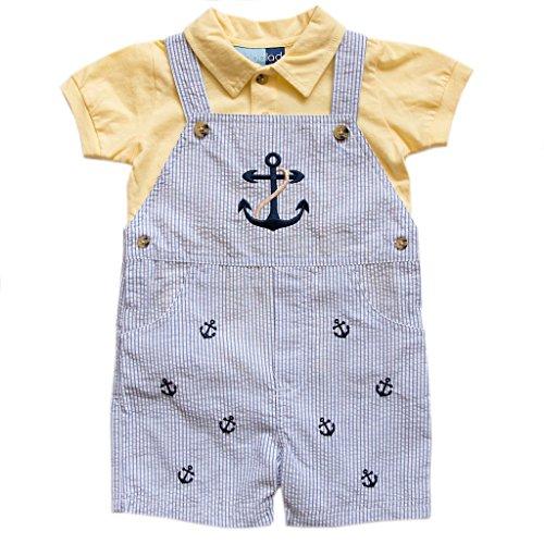 Embroidered Seersucker Pant (Good Lad Newborn/Infant Boy Seersucker Appliqued Shortall Sets (12M, Lt. Blue))
