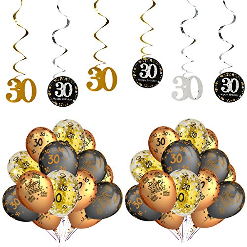 30th Birthday Party Decorations Kits - Sparkling Celebration 30 Hanging Swirls,Black Gold Latex 30 birthday balloons,Perfect for 30 Years Old Party Supplies 30th Anniversary Decorations-37 Pcs