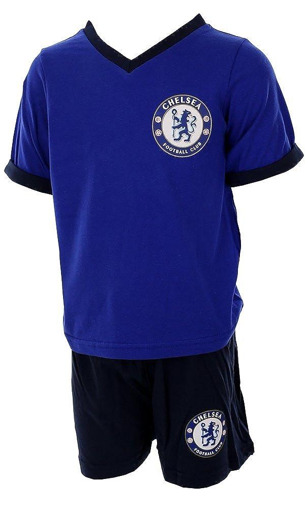 98b23e3a8 Boys Chelsea FC Shortie Pjs Pyjama Set Football Short Nightwear Kids Gift   Amazon.co.uk  Clothing