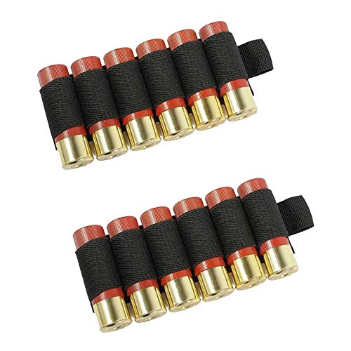 PROTOW 2PCS Tactical Outdoor 6 Round 12/20GA Gauge Cartridge Shotgun Shell Holder Ammunition Holder Ammo Carrier Pouch Bag with Adhesive Backing Sticker