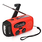 KIPOZI Solar Hand Crank AM FM WB NOAA Multifunctional Compact Dynamo Emergency Weather Radio LED Flashlight Smart Phone Charger with Cables