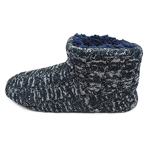 SunbowStar Men's Faux Fur Lined Knit Anti-Slip Indoor Slippers Boots House Slipper Bootie,Navy Blue-11 D(M) US by SunbowStar (Image #2)