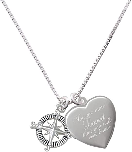 Medium Pi Custom Engraved You are more Loved Heart Locket Necklace