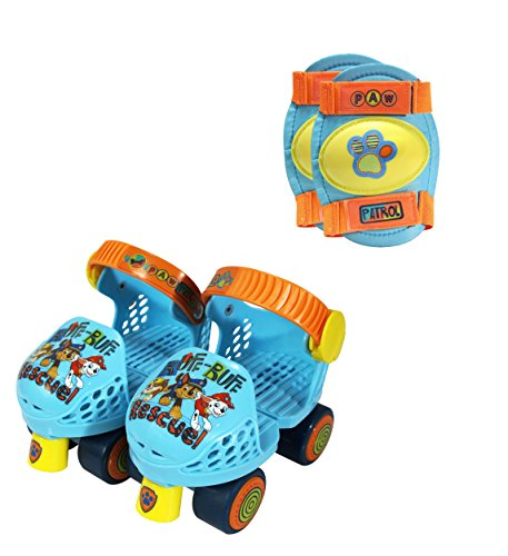 PlayWheels PAW Patrol Roller Skates with Knee Pads, Blue/Orange Junior Size 6-12