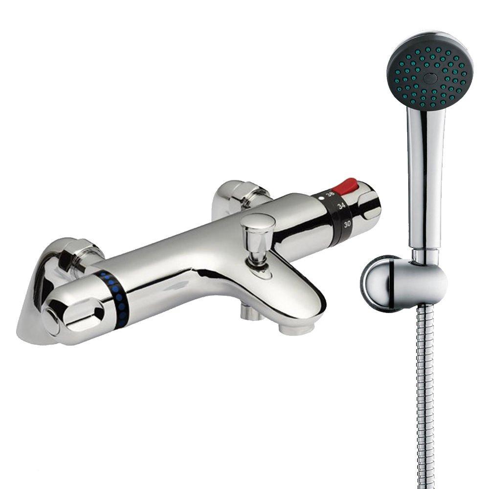 Thermostatic Bath Shower Mixer Tap, Shower Handset & Hose - Chrome The Home Store