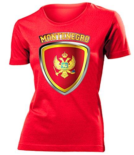 coppa del Mondo - Campionati Europei MONTENEGRO FAN mujer camiseta Tamaño S to XXL varios colores Rojo