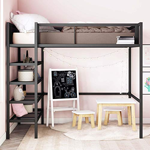 (DHP Tiffany Storage Loft Bed with Book Case, Includes Shelves and Under Bed Clearance, Black Metal -)