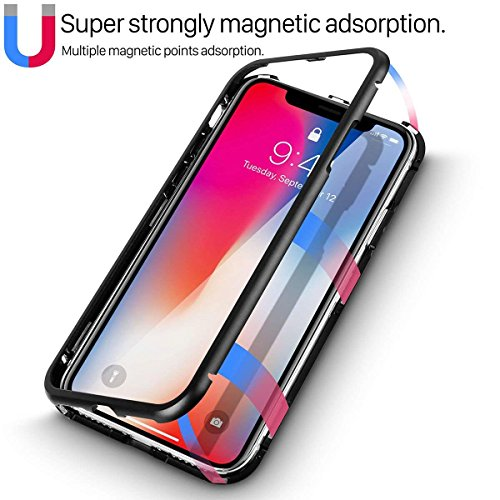 (iPhone X Case, Ankey Magnetic Adsorption Case Ultra Slim Metal Frame Tempered Glass with Built-in Magnet Flip Cover [Support Wireless Charging] for Apple iPhone 10/X (Black))