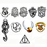 E4go Temporary Tattoo Harry Potter Body Arm Stickers for Party, Hollaween, Cosplay, Gifts, set of 7 Sheets, 10 Designs, 1 Gift
