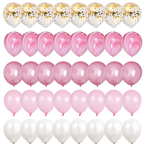 Mayen 40 Pcs 12 Inch Gold Confetti and Pink Agate Marble Balloons, Hot Pink and Light Pink White Latex Balloons Set for Birthday Party Decorations Wedding Baby Showers]()