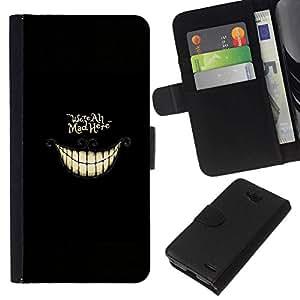All Phone Most Case / Oferta Especial Cáscara Funda de cuero Monedero Cubierta de proteccion Caso / Wallet Case for LG OPTIMUS L90 // WE'RE ALL MAD HERE - ALICE
