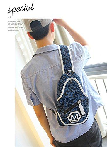 Wewod Bolso de Pecho Hombre Lona,Bolsas de Hombro,Sling Bag de Moda,Mochilas Escolares de Hombro 24 x 41 x 6 cm (L*H*W) Azul marino