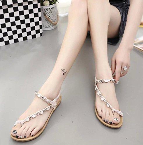 las sandalias del verano mujeres clip del dedo del pie con cuentas sandalias planas White