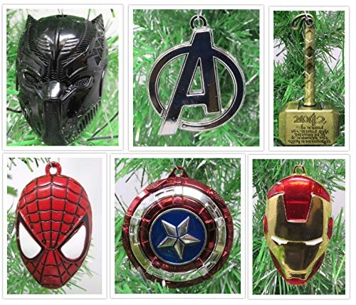 Christmas Ornaments Super Hero Avengers Team Themed Metal Set Featuring Captain America, Black Panther, Iron Man, Spider-Man, Thor & More - Unique Shatterproof Metal Design -