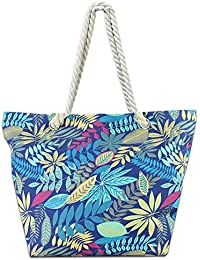 Beach Bag Canvas Tote Bag With Inner Zipper Pocket - Tote with Rope Handles