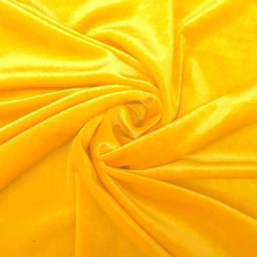 Stretch Velvet Fabric 60'' Wide by the Yard for Sewing Apparel Costumes Craft (1 YARD, Sunflower Yellow) ()