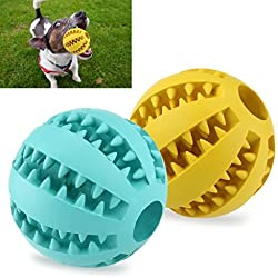 UEETEK 2 Pack Dog Ball Toys,2.8inch Interactive Rubber Dog Toys for Pets Tooth Clening/Playing/Traning Exercise(Yellow + Blue)
