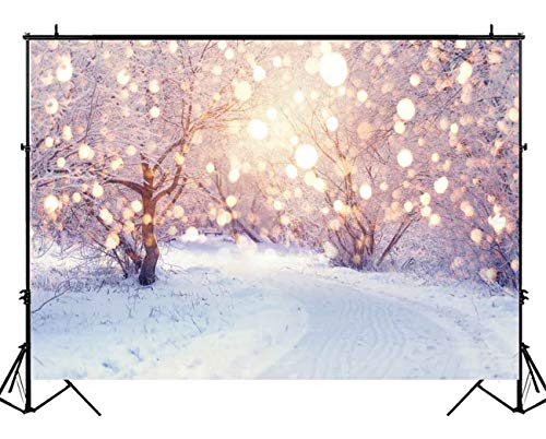 Funnytree 7x5ft Winter White Snow Tree Backdrop Christmas Wonderland Photography Background Snowflake Bokeh Glitter Forest Portrait Photobooth Banner Party Decorations Photo Studio Props
