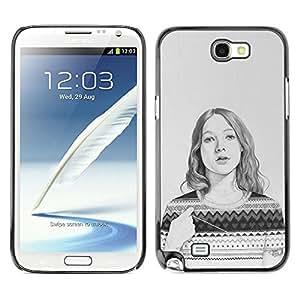 Caucho caso de Shell duro de la cubierta de accesorios de protección BY RAYDREAMMM - Samsung Galaxy Note 2 N7100 - Sweater Pencil Drawing Portrait