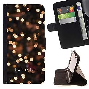 For Samsung Galaxy S4 IV I9500 Case , El centelleo noche del invierno luces brillantes de Blur- la tarjeta de Crédito Slots PU Funda de cuero Monedero caso cubierta de piel