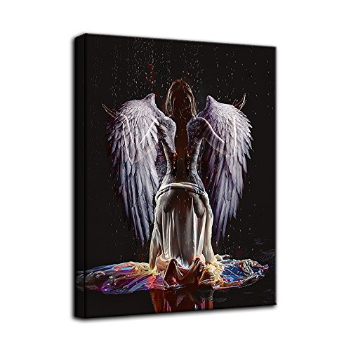 AMEMNY Sexy Naked Angel Wing Abstract Canvas Painting Large Wall Art Beauty Decorative Painting Corridor Wall Painting Simple European Frame Ready to Hang by AMEMNY