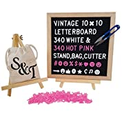 Black Felt Letter Board with Premium Oak Frame - 10  x 10  Vintage Retrogram Board Includes 340 White plus 340 Hot Pink Changeable Letters, Canvass Storage Bag, Wooden Display Stand and Cutting Tool