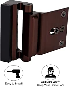 Door Reinforcement Lock with 4 Screws, Home Security Door Lock Stop for Toddler, Childproof Door Lock Night Lock Withstand 800 Lbs Brown
