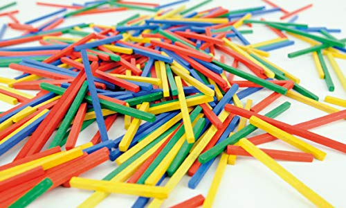 Becks Plastilin B100546 Muggle Beads Wooden Sticks 250 g in A Bag / 4 X 4 Mm, 50 Mm, 75 Mm, 100 Mm Long in 4 Colours Varnished, Multi -