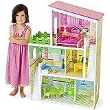 "Imagination Generation Living Large! Modern Design Wooden Multi-Level Dollhouse with 18 pcs of Decorative Furniture for 8"" Dolls"