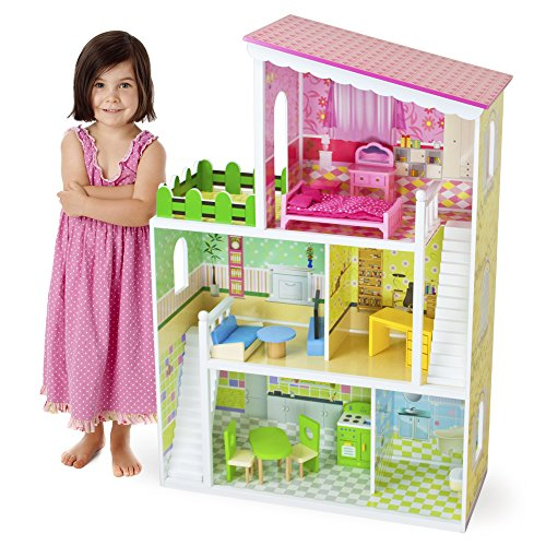 Wooden Wonders Living Large! Modern Dollhouse with 18 Pieces of Furniture by Imagination Generation - Big Doll Furniture