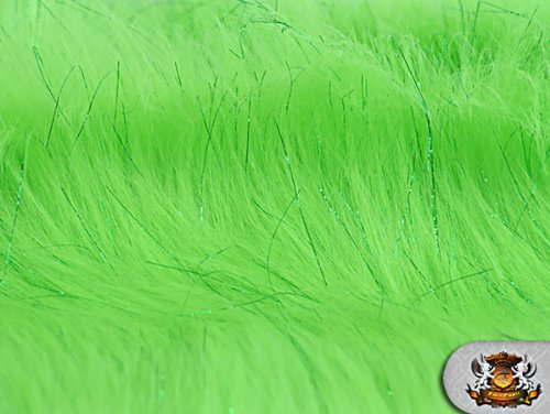Faux Fur Long Pile Sparkling Tinsel Lime Fabric / 58