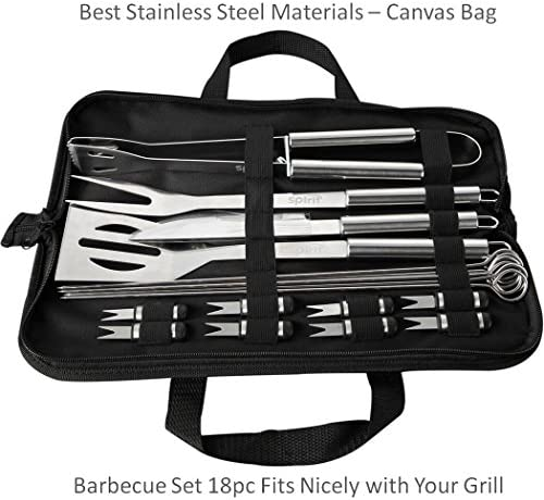 Spirit BBQ Tools Grill Tools Set 18 Piece Stainless Steel Barbecue with Spatula Tongs and Fork