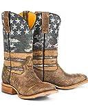 Tin Haul Men's American Flag Dogtag Cowboy Boot Square Toe Brown 7 D(M) US