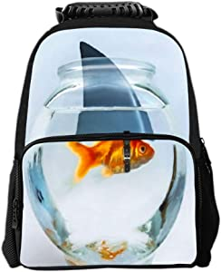 SARA NELL Kids Boys Girls Backpack Golden Fish with Shark'S Horn in Fish Tank Children School Backpack Book Bag