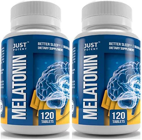 Pharmaceutical Grade Melatonin Supplement by Just Potent | 10mg Tablets | Better Sleep | Brain Health | 2-Pack - 120 Count Per Bottle | Fast Acting and Non-Habit Forming Sleep Aid