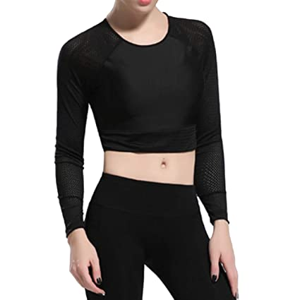 08ea72848f038 Image Unavailable. Image not available for. Color  KIWI RATA Womens Yoga  Tank Top Shirt Running Workouts Clothes Stretchy Round Neck Long Sleeve Crop