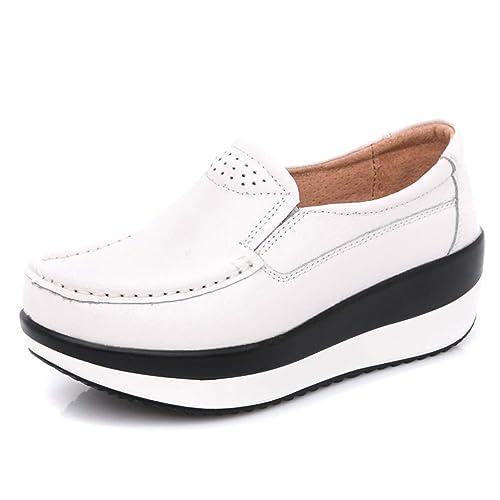 Mocasines con Plataforma Plana De Mujer De OtoñO Mocasines Casuales Mocasines con Cremallera Zapatos CóModos: Amazon.es: Zapatos y complementos