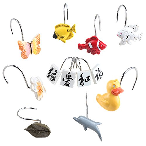 AGPtek-12PCS-Home-Fashions-Anti-Rust-Decorative-Resin-Hooks-for-Bathroom-Shower-Curtain-Baby-roomBedroomLiving-room-Curtain