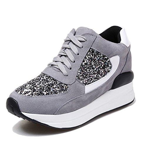 scarpe donna SNEAKERS ginnastica passeggio tennis zeppa alta gomma stringata I2o3sciSS